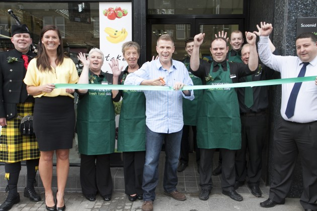 Boogie officially opens the new-look St John's Road Scotmid.
