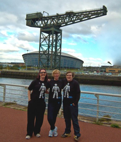 Sharon Angus, Angela Watters and Mo Cook completed the zipslide.