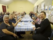 Store Manager Fraser has tea with the Burrelton and Woodside Senior Club.