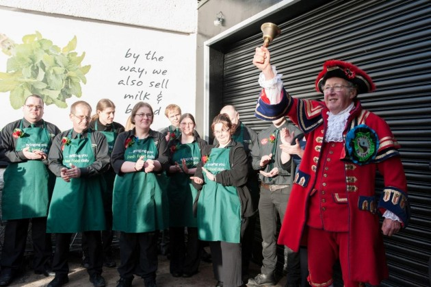 Fairtrade Town Crier, Bob Bryden, with the Keswick Lakes and Dales Co-operative team.
