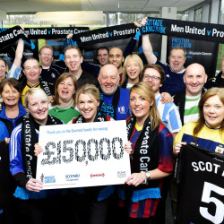 Scotmid staff celebrate raising £150,000 for Prostate Cancer UK.