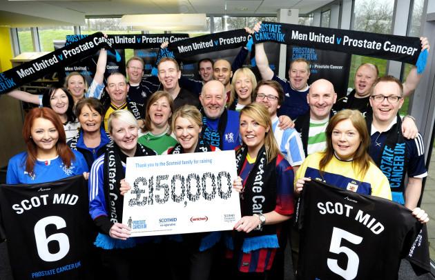 Scotmid staff celebrate raising £150,000 for Prostate Cancer UK.
