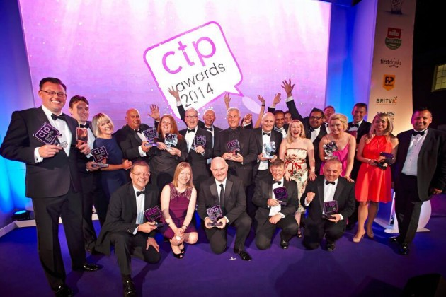 Scotmid's Tom Gibson with the winners at the CTP Awards.