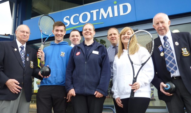 Scotmid staff with members of the Uddingston Tennis and Bowling Club.