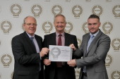 Scotmid's Health and Safety team accept the award.