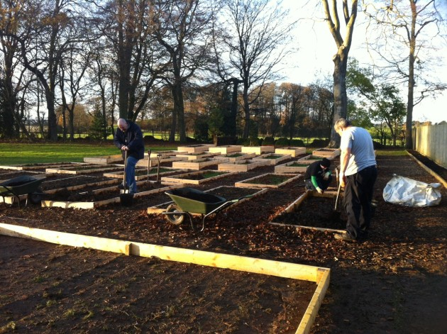 Students preparing the plot area