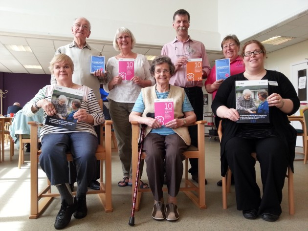 Clients & staff from Age Concern Dundee show off some of the new books, with Cathy from Scotmid Clepington Road.