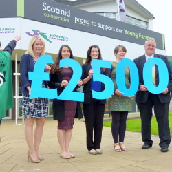 L-r: Sonya Harper, Jelena Janjic (both Scotmid), Lila Dowie (Anthony Nolan), Penny Montgomerie (SAYFC) and Stephen Brown (Scotmid)