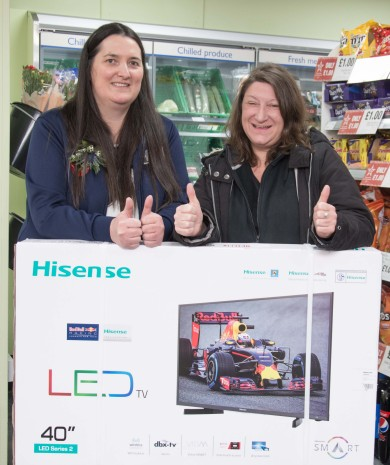 Daily customer and member Alison won a 40-inch TV after receiving a golden ticket