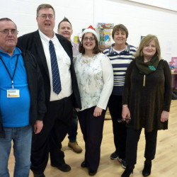 Billy Muir (Forgewood Housing Cooperative), Cllr Michael Ross, Paul Lennon (Forgewood Housing Cooperative), Martine Nolan, Cllr Kay Hamond, Cathy Brien (Forgewood Housing Cooperative).