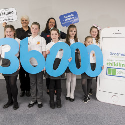 Children from Gallowhill Primary School celebrate reaching the £136,000 fundraising mark